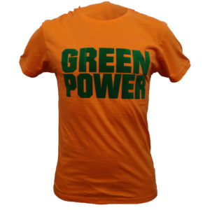 Camiseta algodon naranja con vinilo verde
